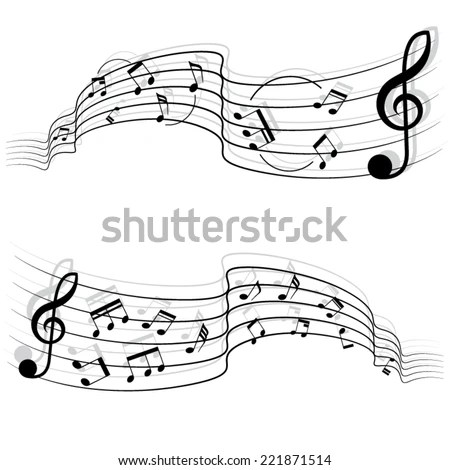 Black Music Notes Shadow On Chords Stock Vector (Royalty