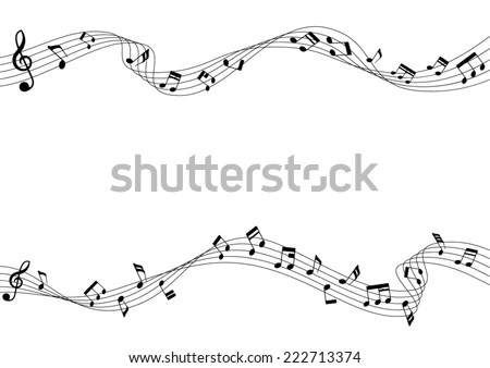 Two Row Musical Notes Chords Musical Stock Vector
