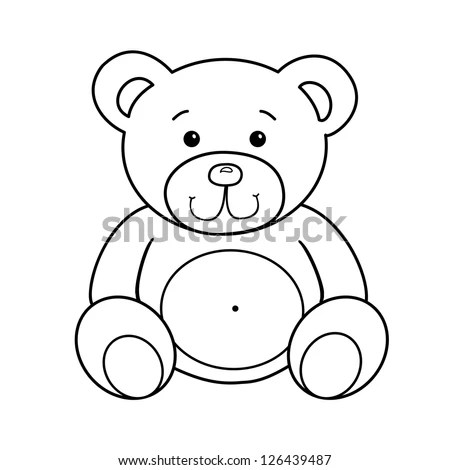 Outlined Bear Toy Vector Illustration Isolated Stock