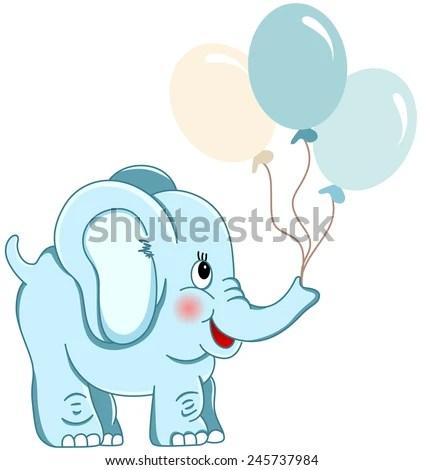 cute blue elephant holding balloons