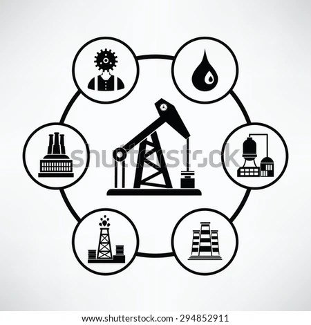 Process Oil Production Petroleum Refining Vector Stock