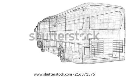 Autocar Wireframe White Background Stock Illustration