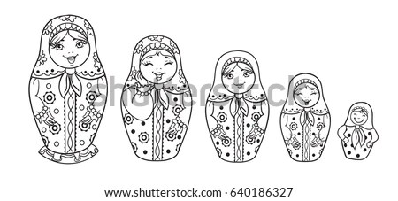 Russian Dolls Matrioshka Outlined Coloring Book Stock