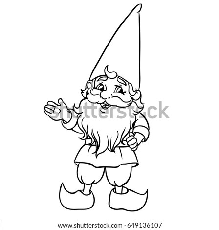 Cute Cartoon Garden Gnome Vector Illustration Stock Vector