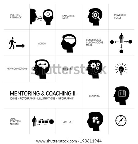 Vector Mentoring Coaching Soft Skills Icons Stock Vector