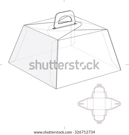 Caring Birthday Cake Box Die Line Stock Vector 326712734