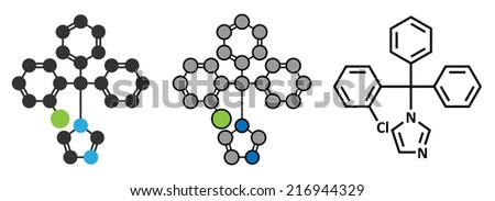 Clotrimazole antifungal drug molecule. Used in treatment