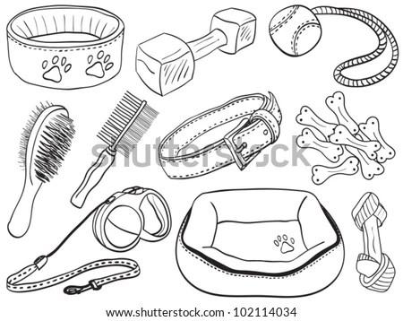 Dog Accessories Pet Equipment Handdrawn Illustration Stock