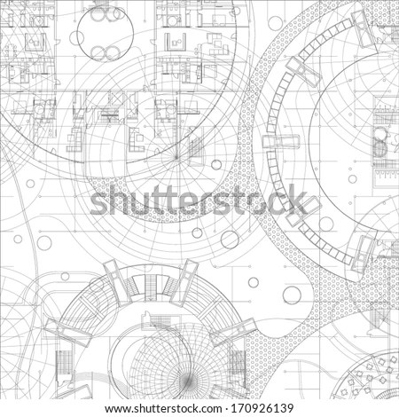 Architectural blueprint. Vector drawing background
