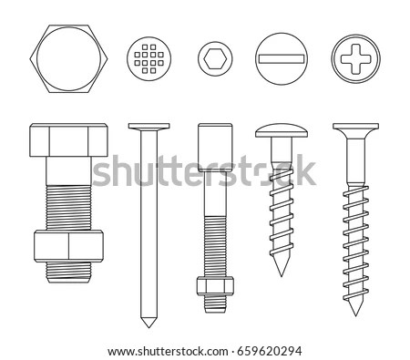Screws Bolts Line Drawing Vector Thin Stock Vector