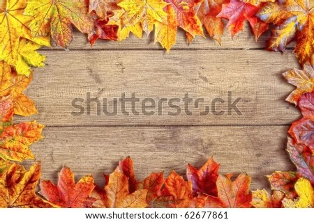 Hd Wallpaper Texture Fall Harvest Autumn Leaves Border On Rustic Background Stock Photo