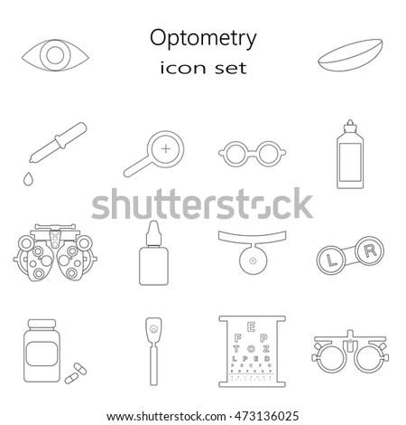 Vector Black Optometry Icon Set Optician Stock Vector