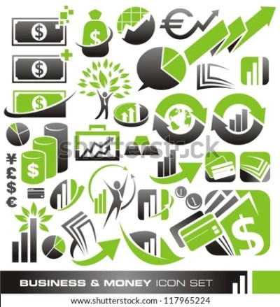 Business Money Finance Icons Logos Symbols Stock Vector ...