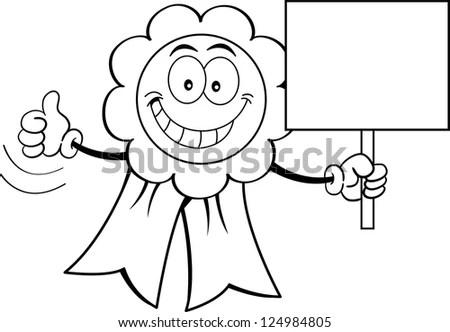 Cartoon Illustration Refrigerator Holding Sign Stock