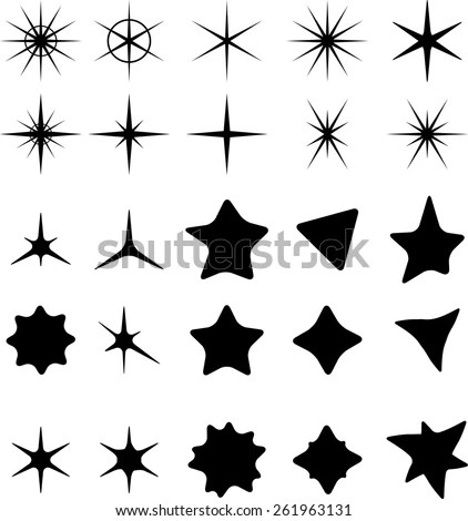 retro stars 5 clip art stock