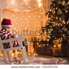 Baby Room Rocking Chair Bouncy Pink 1 Year Old Wearing Santa Stock Photo 516195154 - Shutterstock