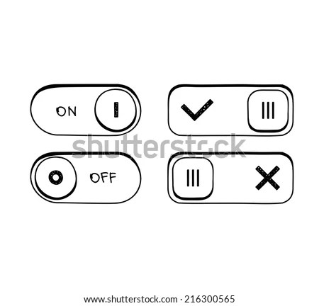 Toggle Switch On Off Position Button Stock Vector