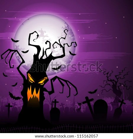 vector illustration scary tree