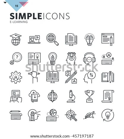 Modern Thin Line Icons Online Education Stock Vector