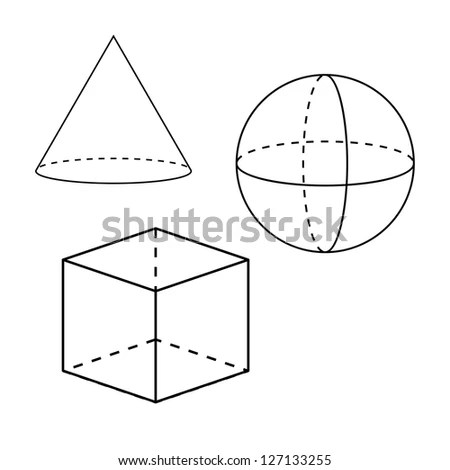 Volume Geometric Shapes Sphere Cone Cylinder Stock Vector
