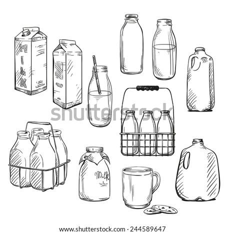 Milk Packaging Vector Illustration Stock Vector 244589647