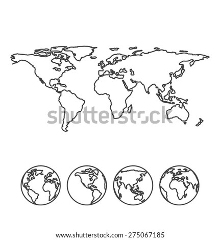 Gray outline map of the world with globe icons. Vector