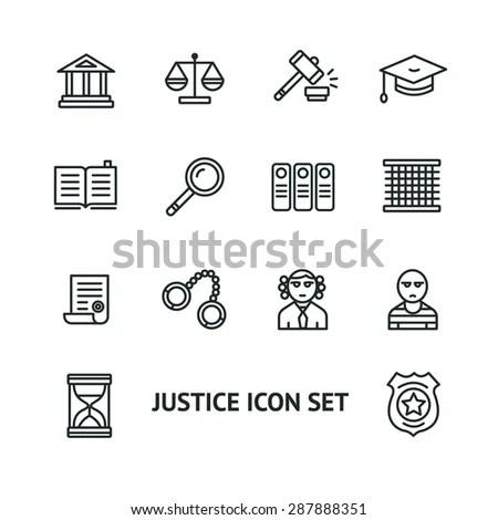 Vector illustration justice law outline icon set. Black