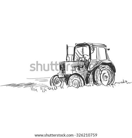 Potato Against Farm Tractor Field Engraving Stock Vector