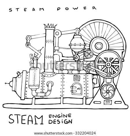 Old Steam Engine Hand Drawn Vintage Stock Vector 332204024