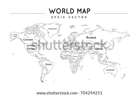 Political World Map Name Borders Countries Stock Vector