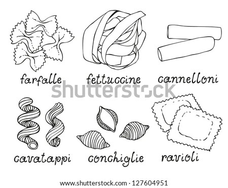 Vector Images, Illustrations and Cliparts: Pasta shapes