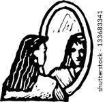 Looking IN Mirror Clip Art, Vector Looking IN Mirror