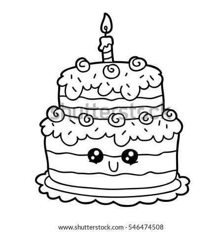 Vector Illustration Cute Cartoon Birthday Cake Stock