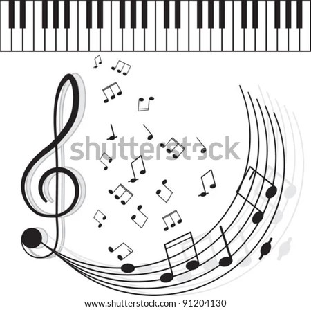 Piano Keyboard Against Faded Music Sheet Stock Vector