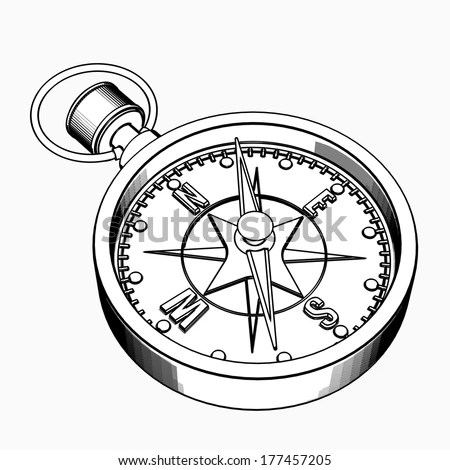 Compass Cartoon Illustration Outline High Resolution Stock