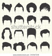 vector set retro mens hair styles