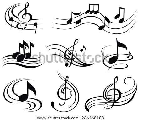 Music Notes Set Music Design Elements Stock Vector