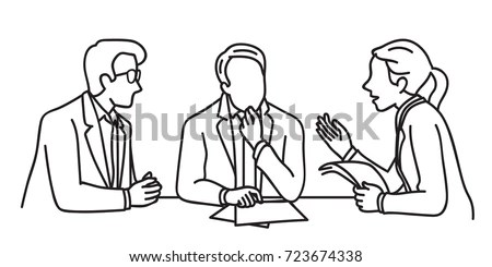 Character Business People Meeting Table Business Stock