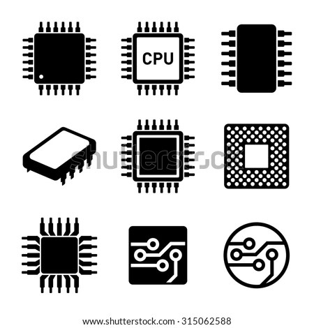 Cpu Microprocessor Chips Icons Set Vector Stock Vector