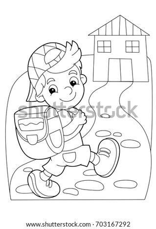 Cartoon Coloring Page Boy Going School Stock Vector