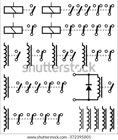 Electromechanical Relay Symbols Stock Vector (Royalty Free