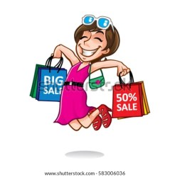 cartoon shopping bags carrying shopper excitedly smiling woman shoppers happy jump while lot shutterstock vectors royalty