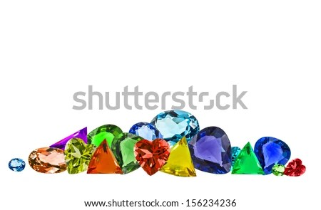Pile Of Colorful Gems Isolate On White Background Stock