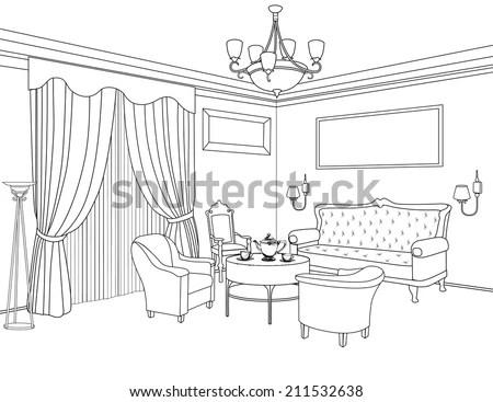 Interior Outline Sketch Furniture Blueprint Architectural