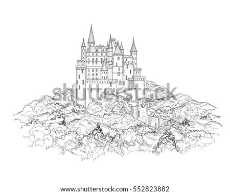 Castle Outline Stock Images, Royalty-Free Images & Vectors