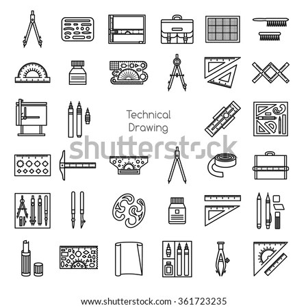 Technical Drawing Tools Line Icons Set Stock Vector
