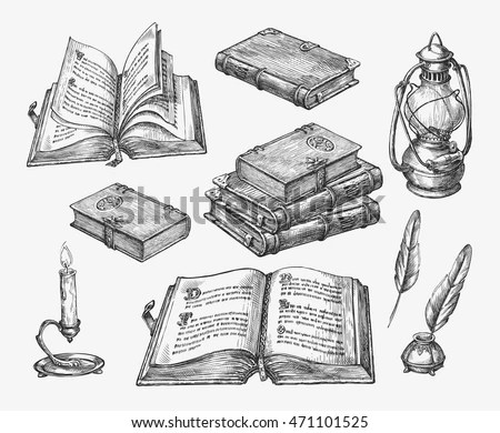 Handdrawn Vintage Books Sketch Old School Stock Vector
