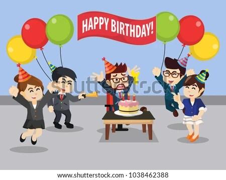 birthday celebration office stock