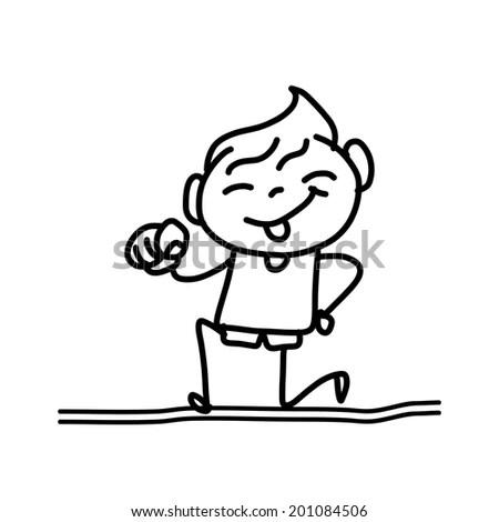 Cartoon Vector Outline Illustration Boy Reading Stock