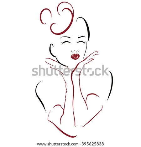 Graphic Face Woman Kissing Leaning Her Stock Vector